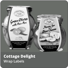 Click the link to a larger image of the various cottage delight label wraps we produce