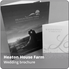 Click the link to view enlarged images of the wedding brochures we produced for Heaton House Farm